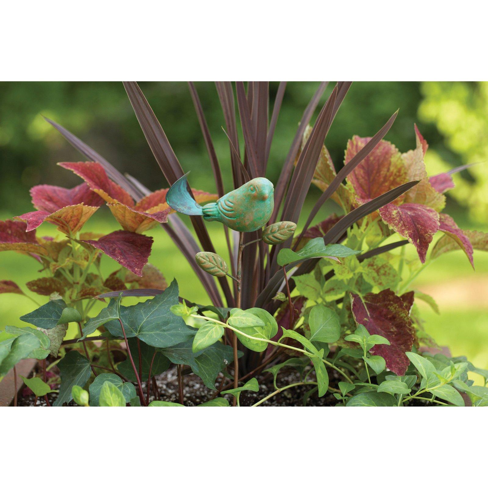 Ancient Graffiti Teal Bird Plant Pick
