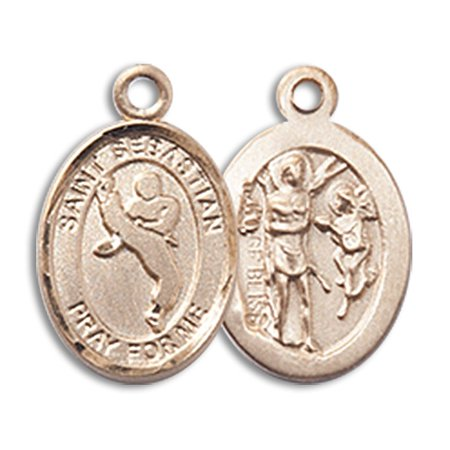 - 14kt Yellow Gold St. Sebastian/Martial Arts Medal 1/2 x 1/4 inches
