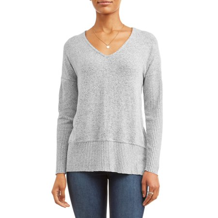 (Per Se Women's Long Sleeve Super Cozy V-neck Top with Ribbed Sleeves)