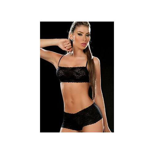 Grupo Espiral LLC Black Two Piece Lace Cami Set 206-B Black
