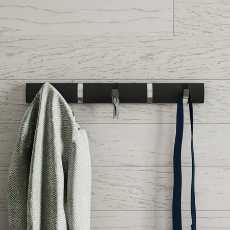 Wall Hook Rail-Mounted Hanging Rack with 5 Retractable Hooks by Lavish Home (Black)