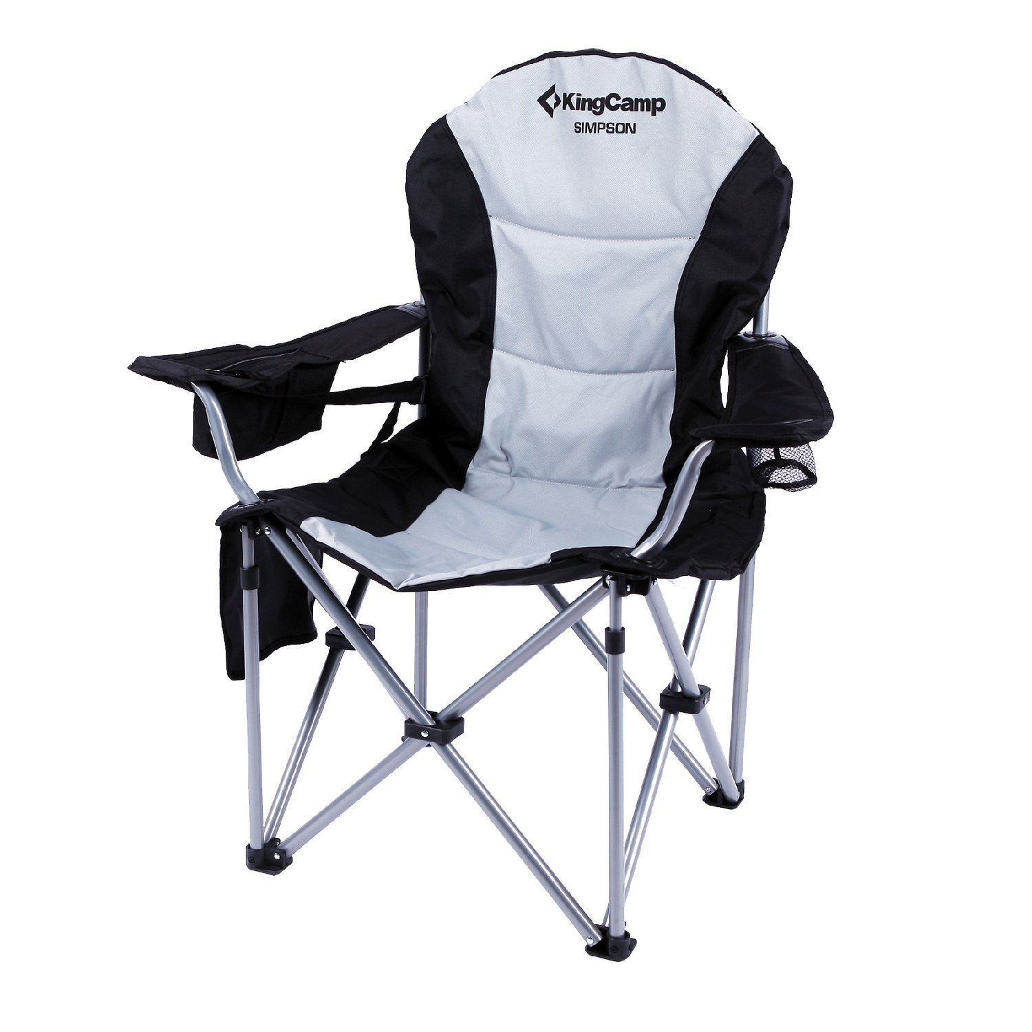 Lumbar Support Lightweight Portable Heavy Duty Folding Deluxe Large Size Camping Chair, Carry Bag Included