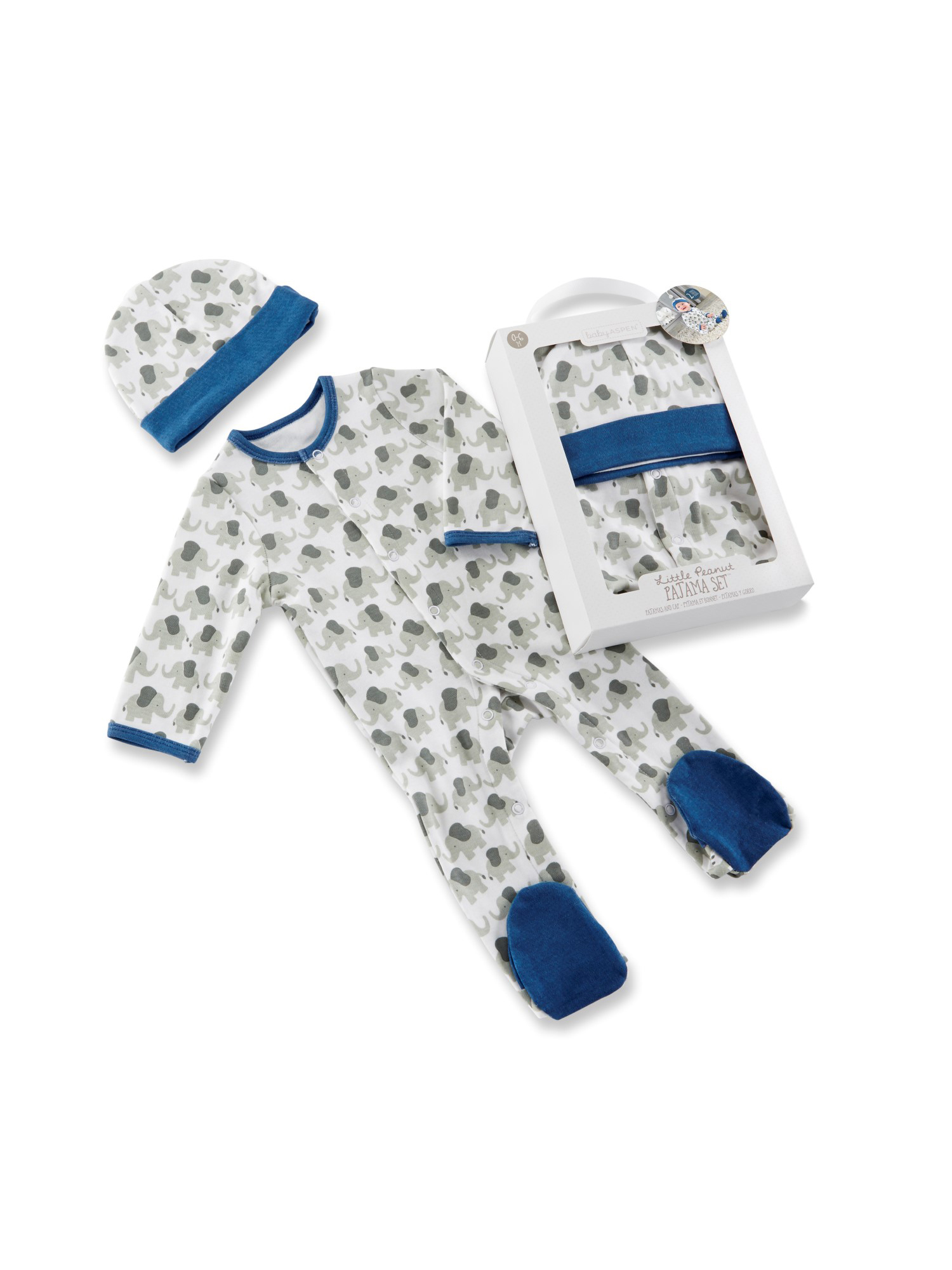 Baby Aspen Little Peanut Elephant Sleep 'N Play Pajamas & Cap, 2pc Gift Box Set (Baby Boys) 0-6mo.
