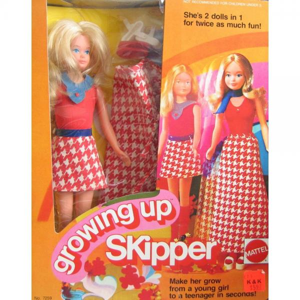 Barbie GROWING UP SKIPPER DOLL w Outfits 2 Dolls in 1 For Twice as Much Fun! (1974 Mattel Hawthorne) by