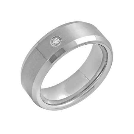 (Men's Tungsten 8MM Diamond Accent Wedding Band - Mens Ring)