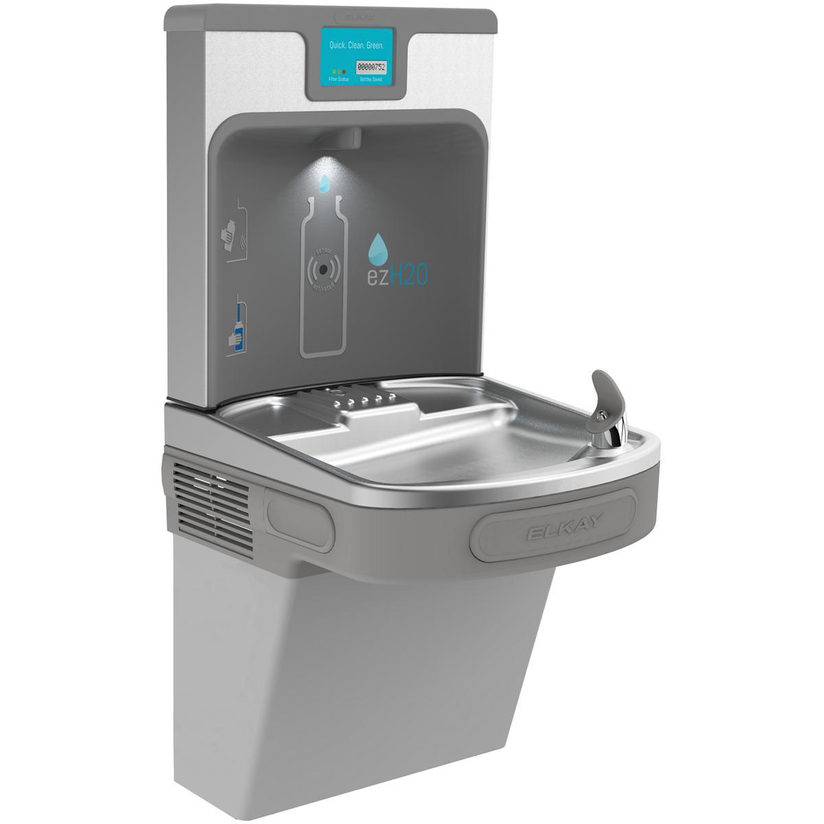 Elkay Enhanced EZH2O Bottle Filling Station & Single ADA Cooler, Filtered 8 GPH Light Gray Light Gray Granite