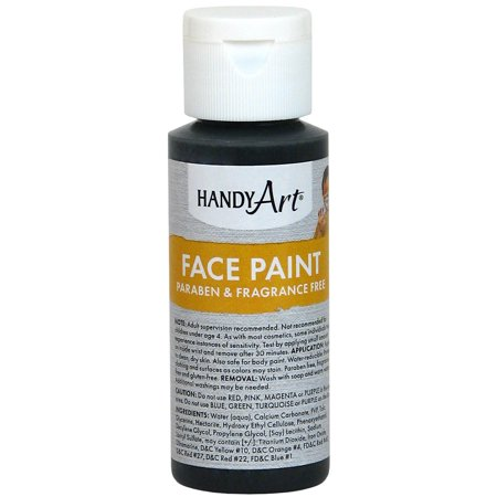 Handy Art Face Paint 2oz-Black - Simple Halloween Face Paint For Girls