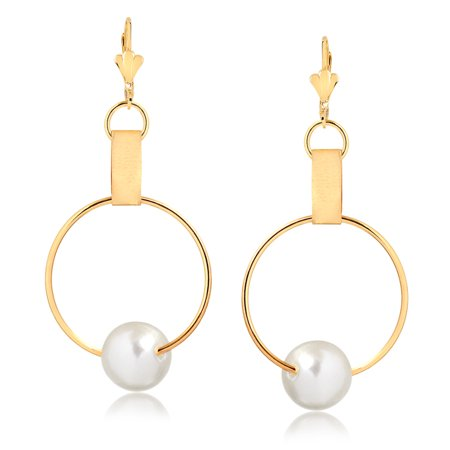 Gold Plated Freshwater Pearl Circle Drop