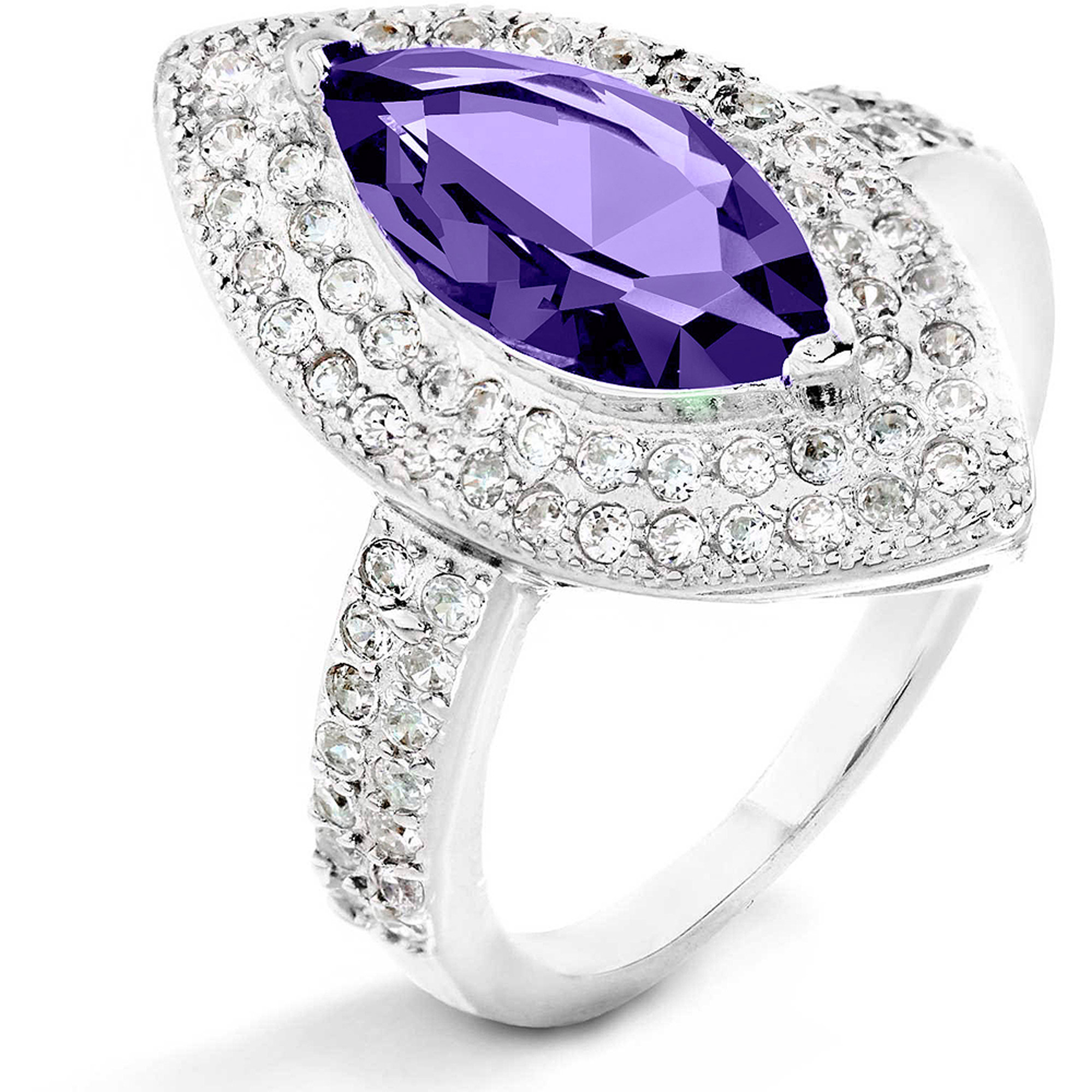 ELYA Sterling Silver Amethyst Purple Marquise CZ Halo Ring