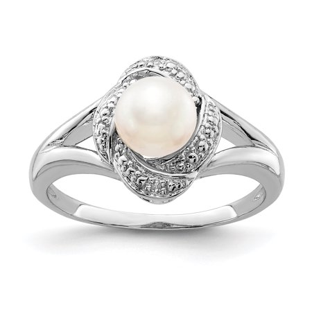 925 Sterling Silver Diamond Freshwater Cultured Pearl Band Ring Size 6.00 Birthstone June Gemstone Set Fine Jewelry Ideal Gifts For Women Gift Set From