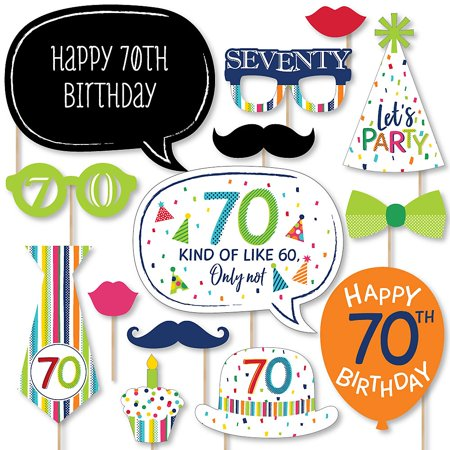 70th Birthday - Cheerful Happy Birthday - Colorful seventieth Birthday Party Photo Booth Props Kit - 20 Count  - Happy 70th Birthday Decorations