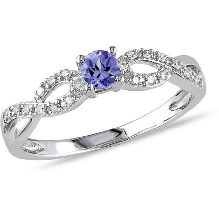 1/6 Carat T.G.W. Tanzanite and Diamond Accent Sterling Silver Cross-Over Ring