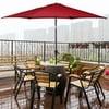 Costway 10FT Patio Umbrella 6 Ribs Market Steel Tilt W/ Crank Outdoor Garden Burgundy