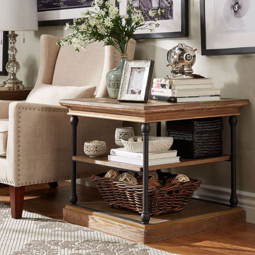 Lubeck Vintage Oak End Table by