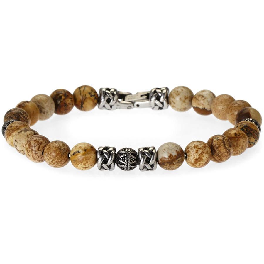Men's Genuine Jasper Stainless Steel Bead Bracelet, 8.5