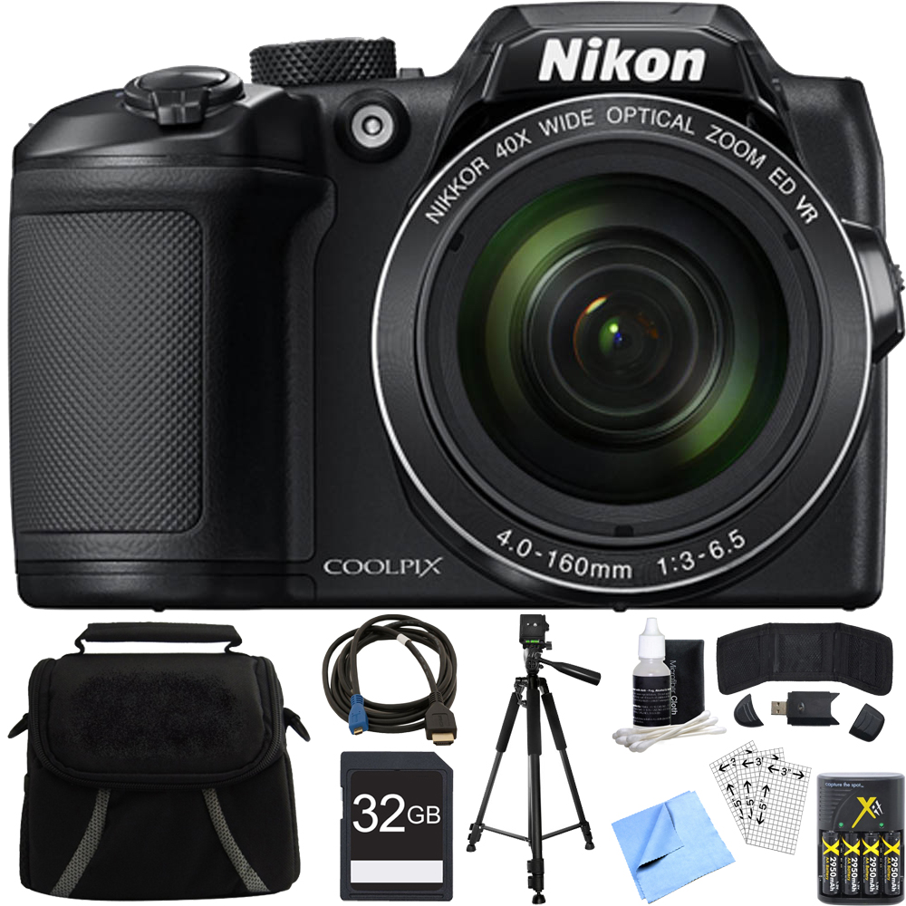 Nikon COOLPIX B500 16MP 40x Optical Zoom Digital Camera 32GB Bundle includes Camera, Bag, 32GB Memory Card, Reader, Wallet, AA Batteries + Charger, HDMI Cable, Tripod, Beach Camera Cloth and More
