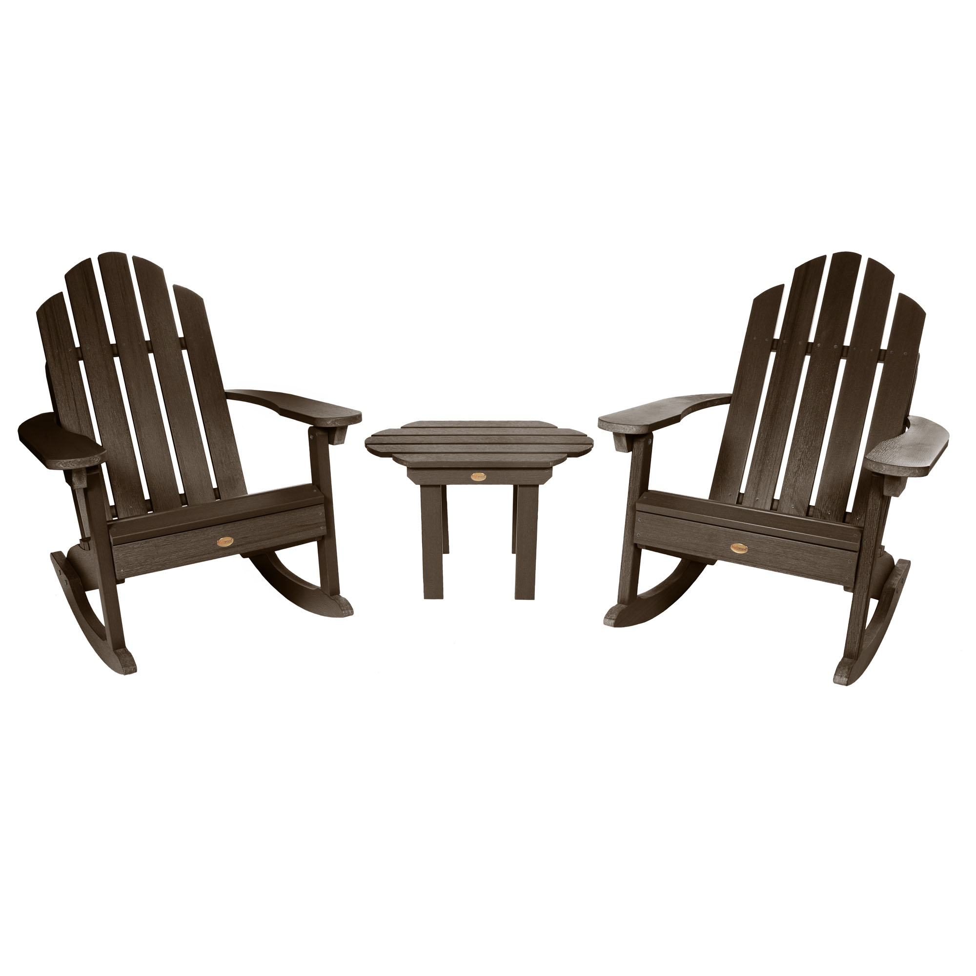 2 Classic Westport Adirondack Rocking Chairs with 1 Classic Westport Side Table