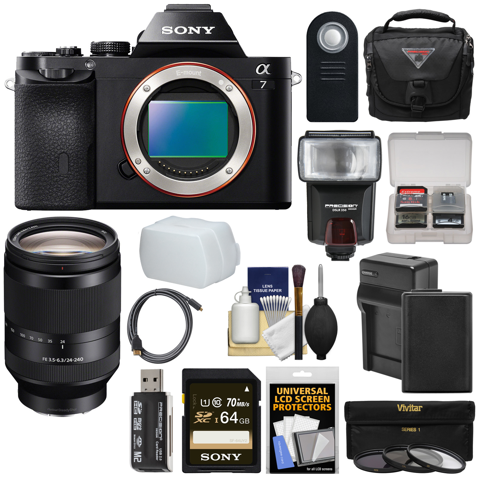 Sony Alpha A7 Digital Camera Body (Black) with FE 24-240mm OSS Lens + 64GB Card + Battery + Charger + Case +... by Sony