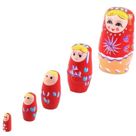 Hand Painted Russian Nesting (Unique Bargains Wooden Hand Painted Russian Nesting Dolls Matryoshka Gift Red Set 5 in 1)