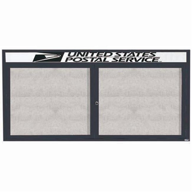 Aarco Products ODCC3672RHIBA 2-Door Illuminated Outdoor Enclosed Bulletin Board with Header - Bronze Anodized