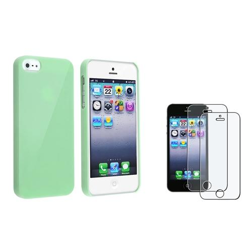 INSTEN Ice Cream Mint Green Hard Case+2x Anti-Glare Screen Protector For iPhone 5S 5 G
