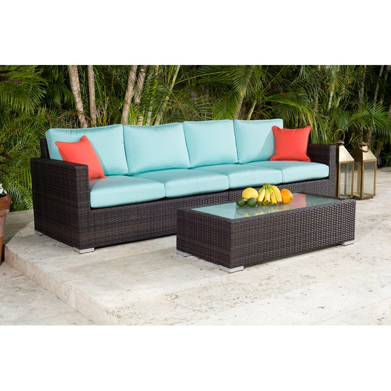 Source Outdoor Lucaya All-Weather Wicker Loveseat Conversation Set