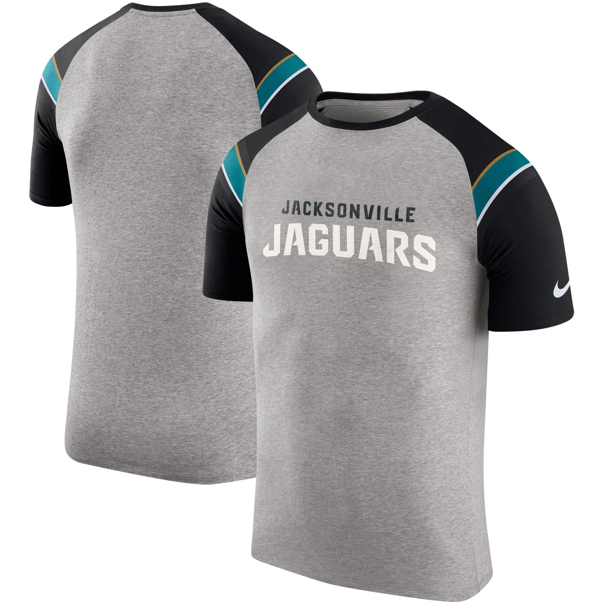 Jacksonville Jaguars Nike Enzyme Shoulder Stripe Raglan T-Shirt - Heathered Gray