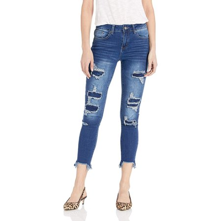 Cover Girl High Waisted Cute Ripped and Repair Blue Skinny Juniors, Classic, 1