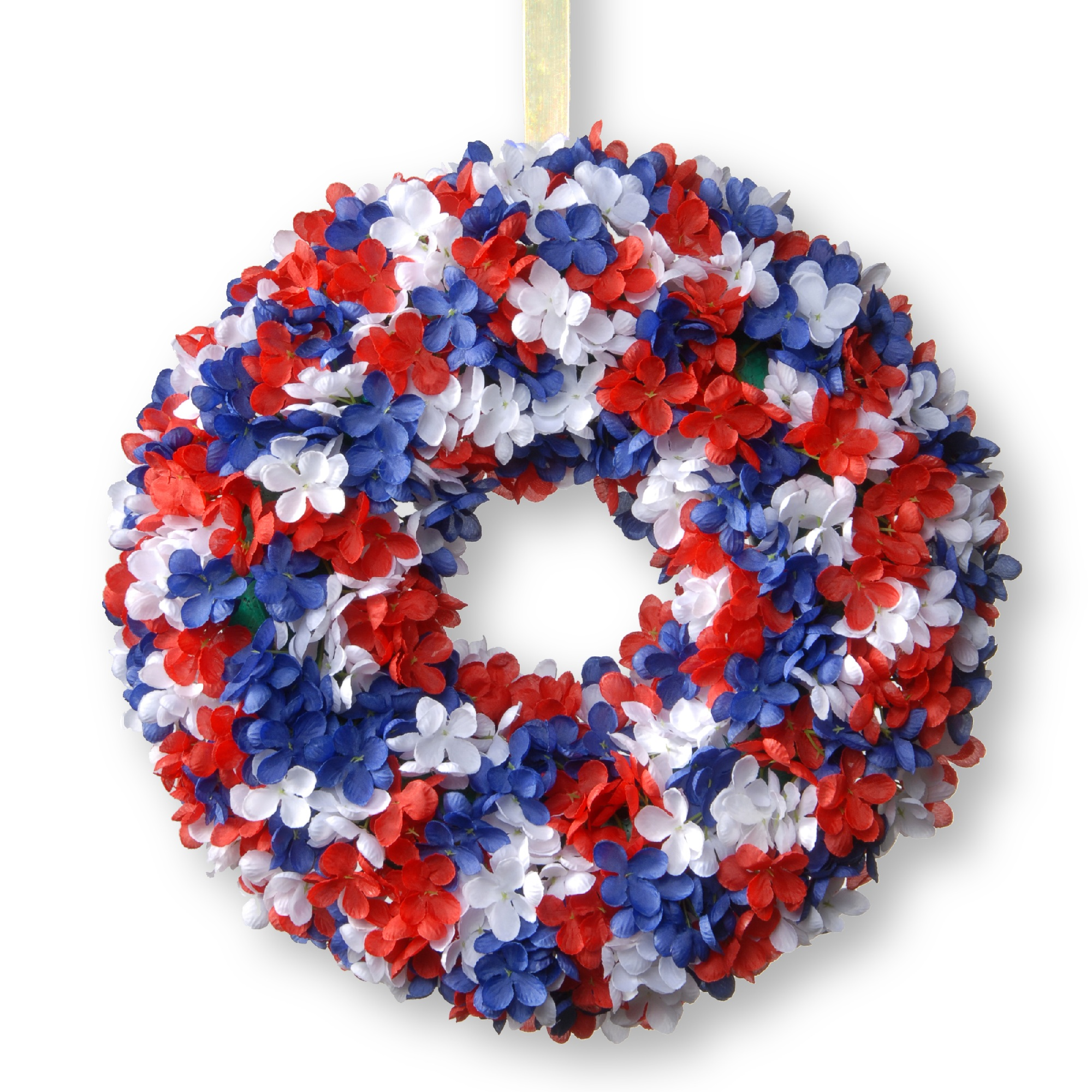 Hydrangea Patriotic Wreath - 14-Inch, Unlit