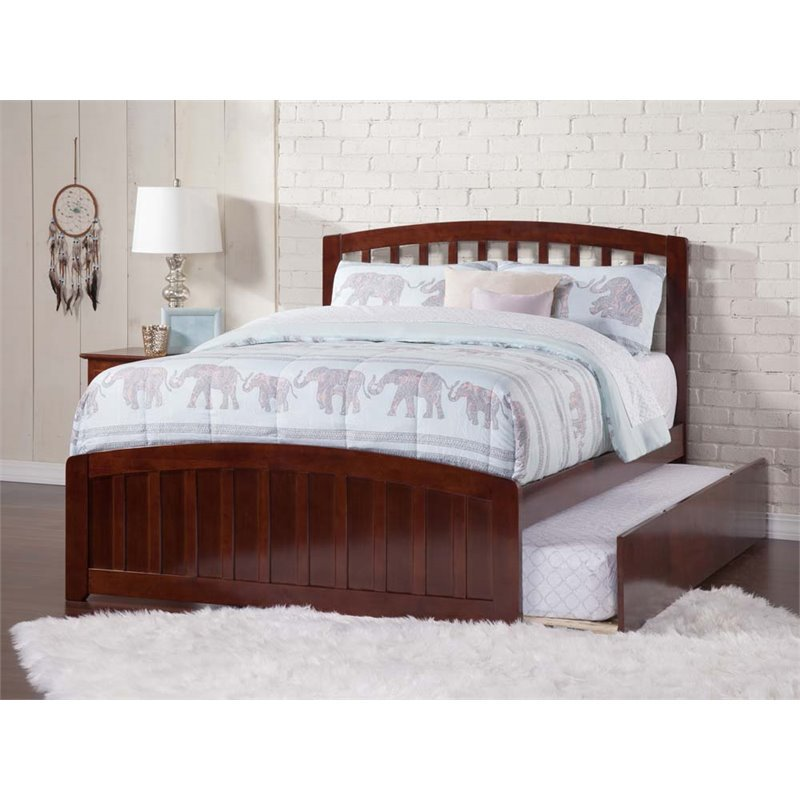 Richmond Full Platform Bed with Matching Foot Board with Twin Size Urban Trundle Bed in Walnut by Atlantic Furniture