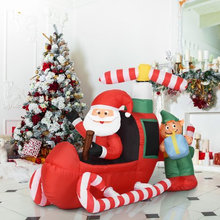 Gymax 6FT Inflatable Santa Claus Flying Airplane Christmas Decor Lighted Outdoor Indoor