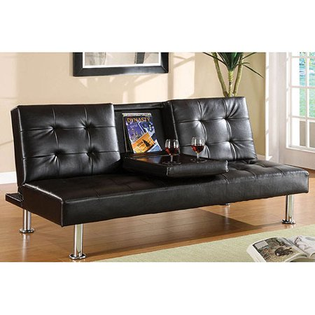 Furniture Of America Orinda Black Leatherette Futon Sofa With Flip Down Table
