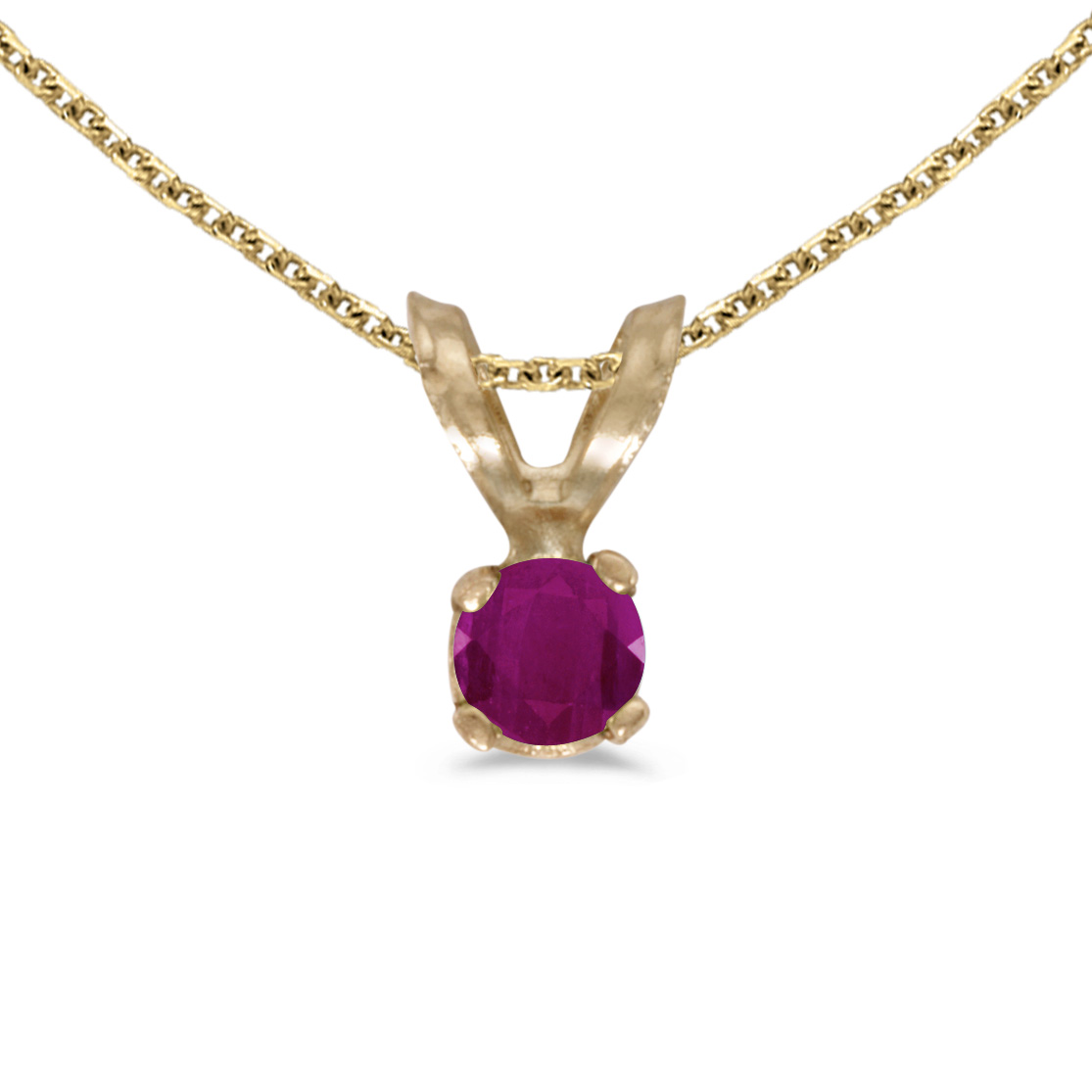 """14k Yellow Gold Round Ruby Pendant with 18"""" Chain"""
