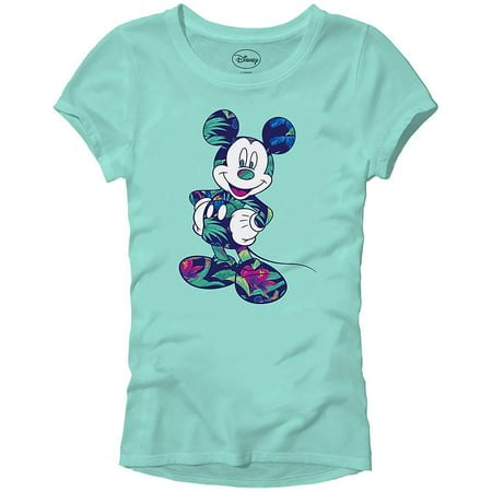Disney Mickey Mouse Tropical Mint Green Disneyland World Tee Funny Humor Women's Juniors Slim Fit Graphic T-Shirt Apparel](Tropical Shirts Womens)