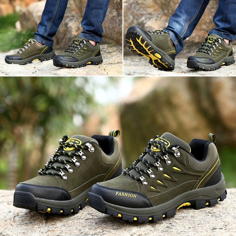 Army Green Sport Shoes Outdoor Leather Scrub Waterproof Mountaineering Shoes Women Hiking... by YKS