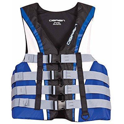- o'brien men's 4 buckle nylon pro life vest (blue/white/black, xx-large, chest 48-52-inch)