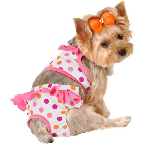 Lulu - Polka-Dot Dog Bikini with Ruffles