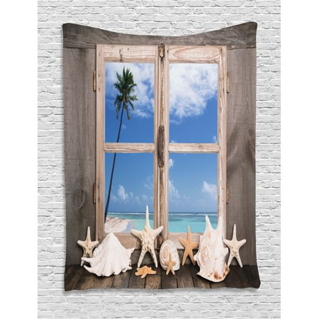 Beach Decor Tapestry, Summer Holiday wih Seashells Starfish Palm Tree Ocean Print, Wall Hanging for Bedroom Living Room Dorm Decor, 40W X 60L Inches, Light Brown Sky Blue and White, by Ambesonne