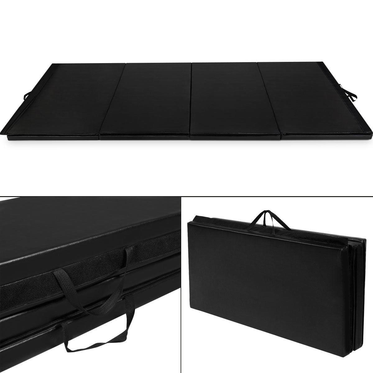 "Costway Black 4'x10'x2"" Thick Folding Panel Gymnastics Mat Gym Fitness Exercise Mat"
