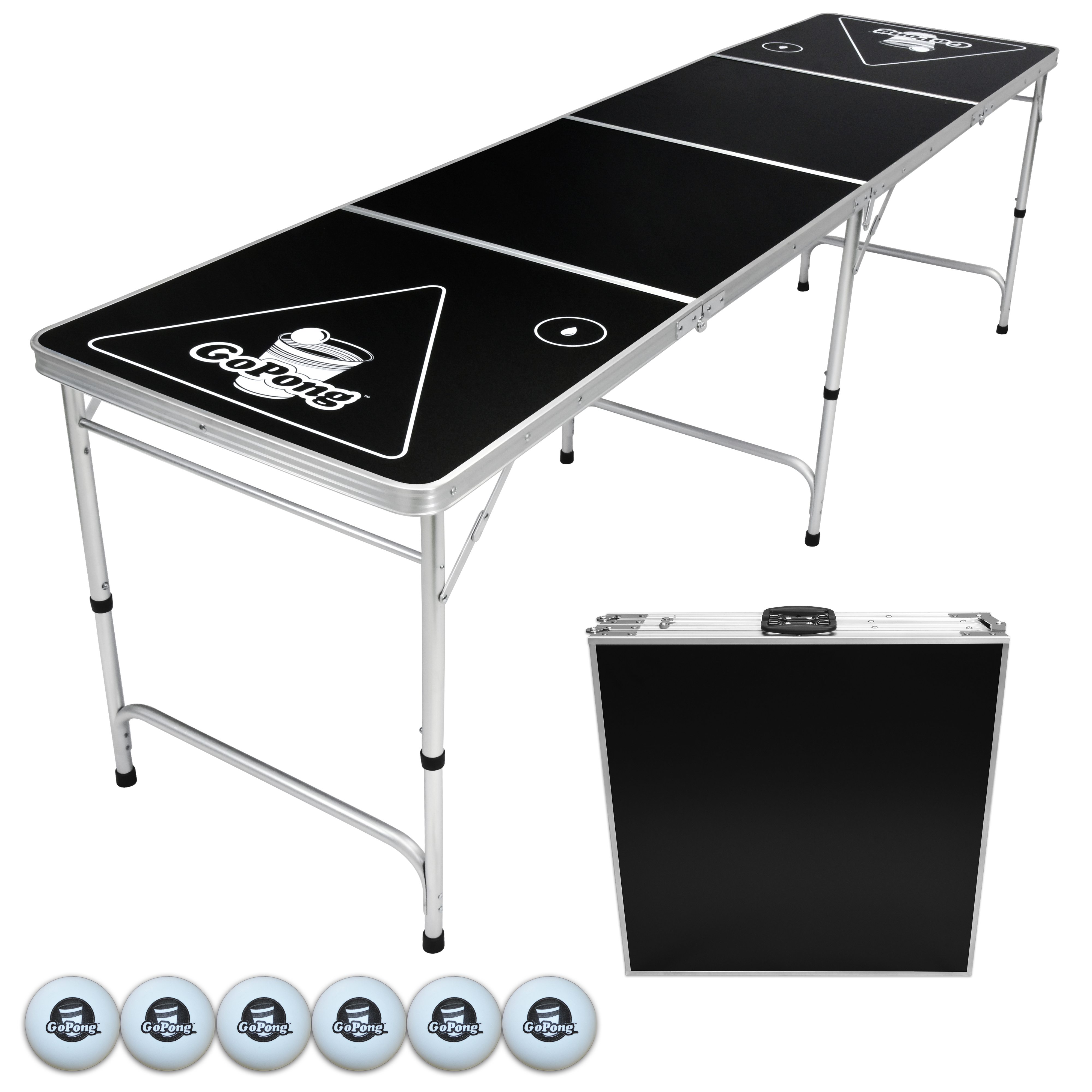 GoPong 8' Portable Folding Beer Pong/Flip Cup Table, 6 Balls Included