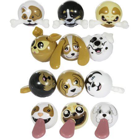 Party Favors - Set of 12 Puppy Tuggers Cute Dog Figurines w/ Stretchable - Party Puppy