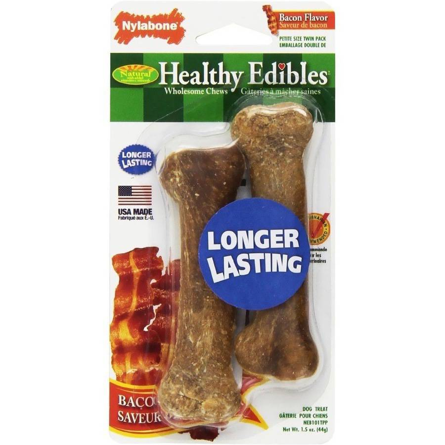Nylabone Healthy Edibles Bacon Flavored Bones, Regular, 2pk