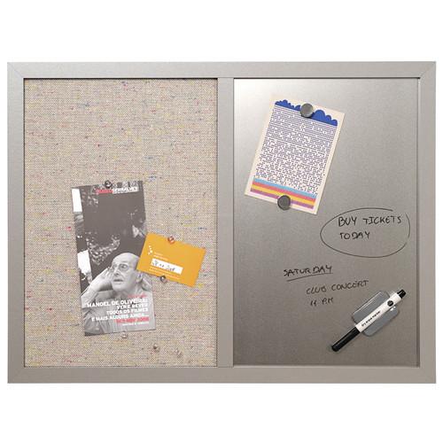 Mastervision Combo Bulletin Board, Bulletin/Dry Erase, 24X18, Black Fr