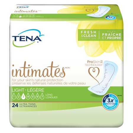 TENA Intimates Ultra Thin Light Pads, Long, Pant Liner Bladder Control Pads, 54344 - Case of (Sanitary Pants Replacement Pads)