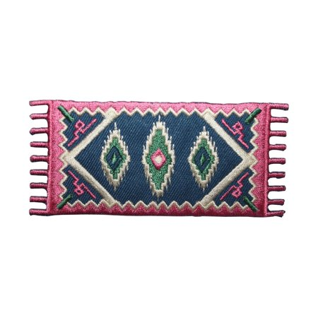 ID 8792 Southern Mexican Rug Patch Western Poncho Embroidered Iron On Applique](Western Poncho)