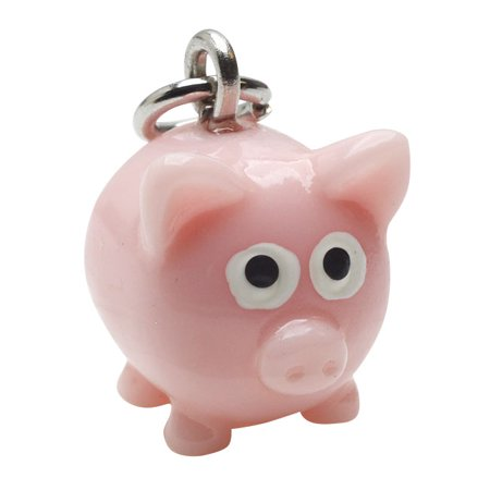 Jewelry Charm, 3-D Hand Painted Resin Pig 17.5mm, 1 Piece, Pink