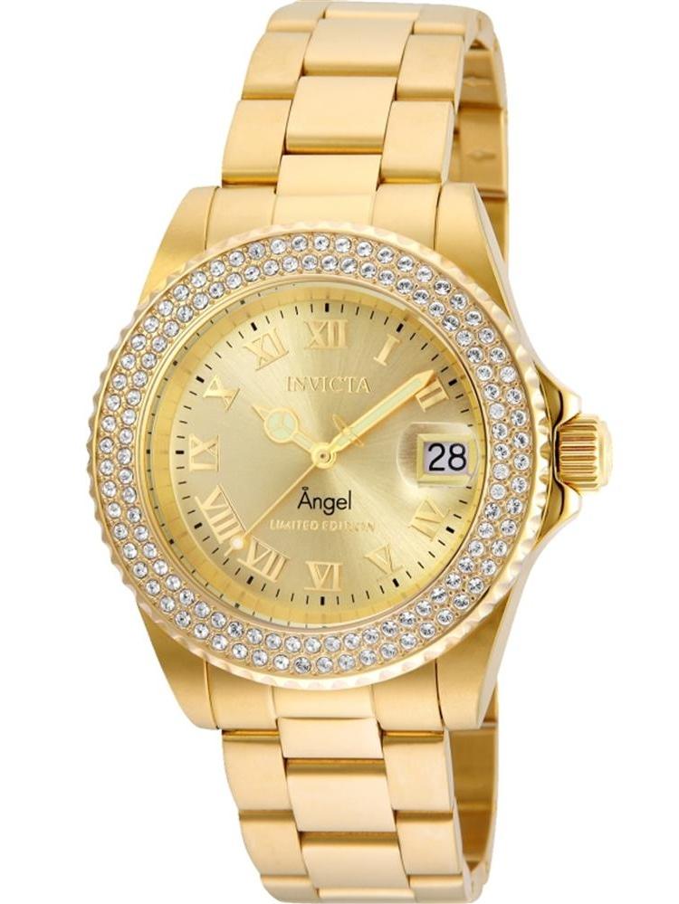 Women's Angel Gold-Tone Steel Bracelet & Case Quartz Analog Watch 24614