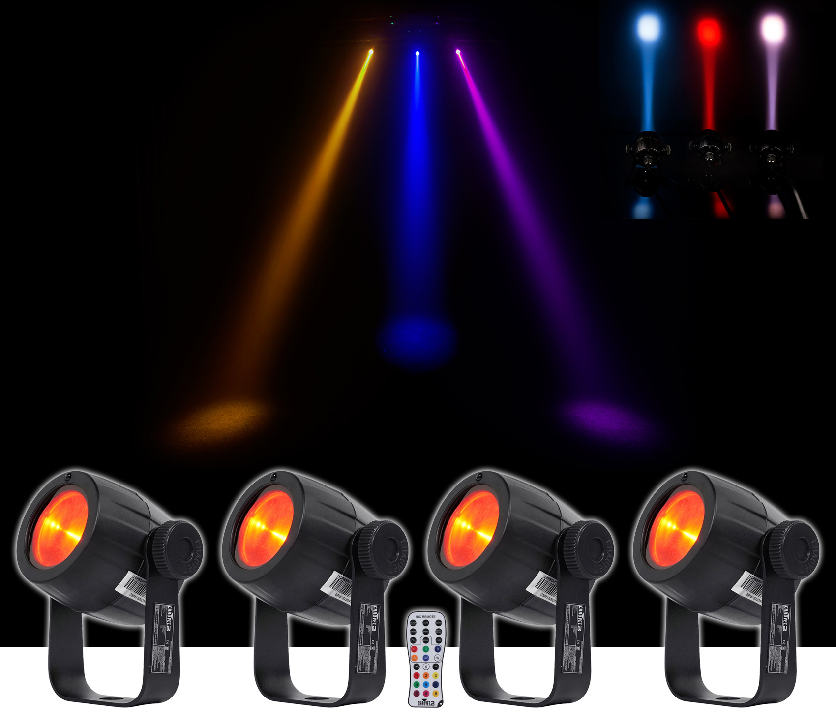 4) Chauvet DJ LED Pinspot 3 Club Mirror Ball Spot Light w Dimmer+Gel Pack+Remote by CHAUVET