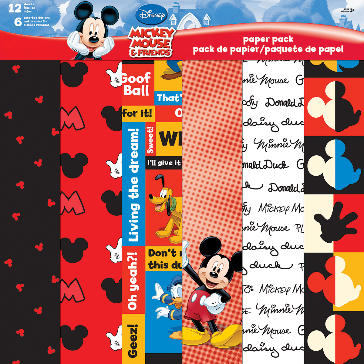 "Disney Mickey Paper Pack 12""X12"" 12/Pkg"