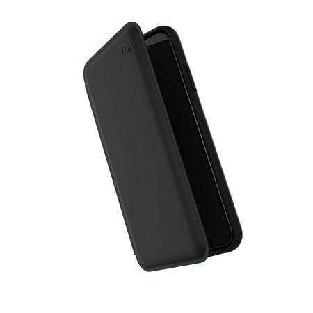 Brand New Speck Products Presidio Folio Leather iPhone Xs Max Case, Black/Black Speck Black Leather